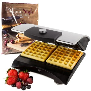 Andrew James Luxury Double Belgian Waffle Maker in Stainless Steel