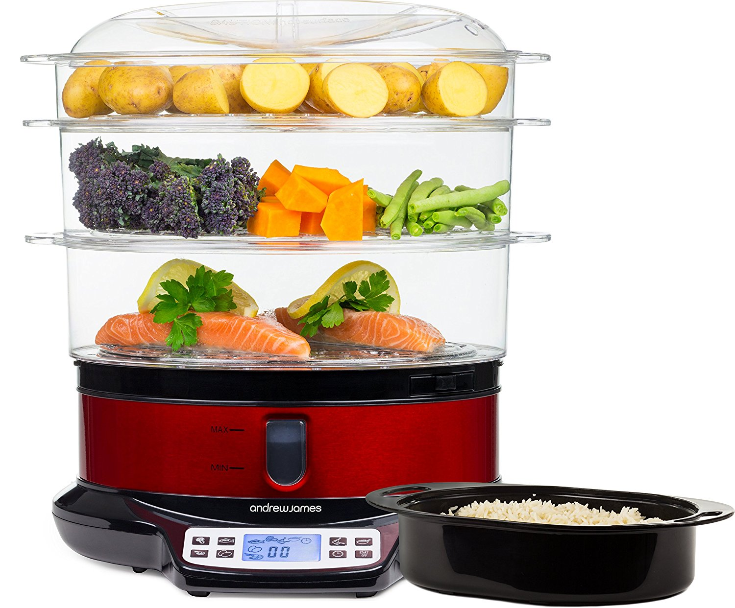 Andrew James Red 3 Tier Digital Food Steamer Best